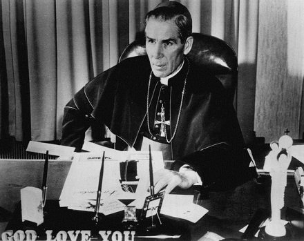 Bishop Fulton J. Sheen 1956, ABC Radio, public domain, commons.wikimedia.org
