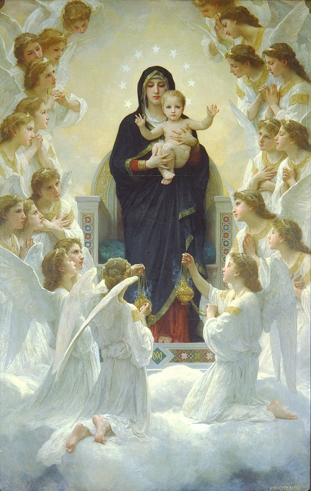 Madonna with Angels, Bouguereau, 1900, volné dílo