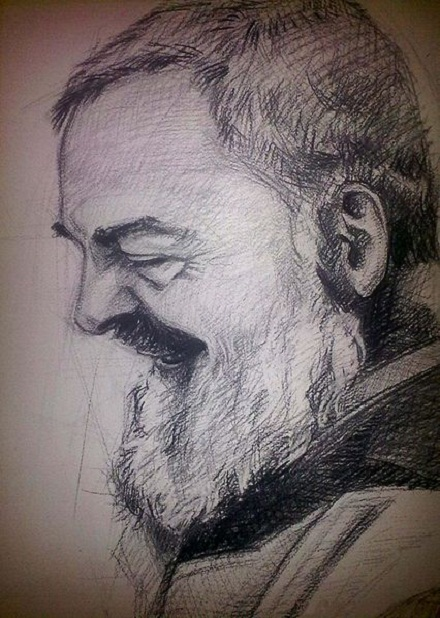 Padre Pio portret, Solomenco Bogdan, CC BY-SA 3.0, commons..